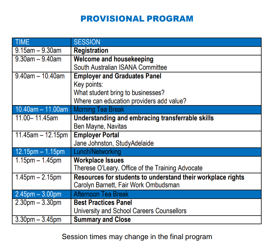 #ISANA SA & NT state #conference program released